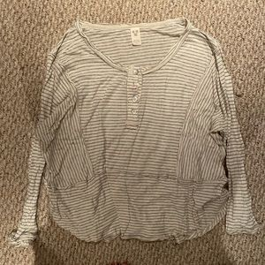 Free People Cream Gray Striped Button Down Top